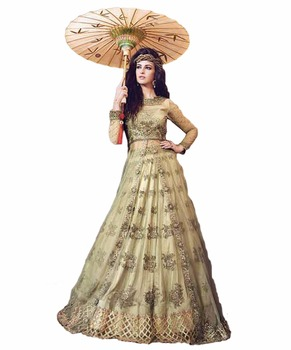 Designer Zoya 2017 Lime Green Color Heavy Wedding Wear Anarkali Lehenga Dress Material Zoyas Party