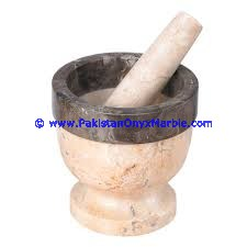 NATURAL STONE MARBLE MORTAR PESTLE MULTI STONE MARBLE