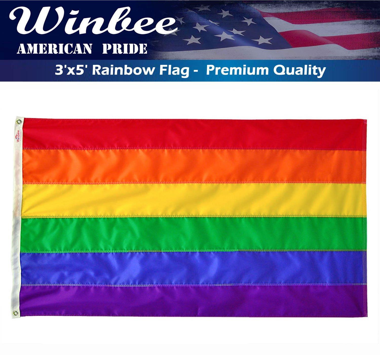8afa8d9b95c2 Get Quotations · Gay Lesbian Pride Rainbow Flag 3x5 Ft with Sewn Stripes