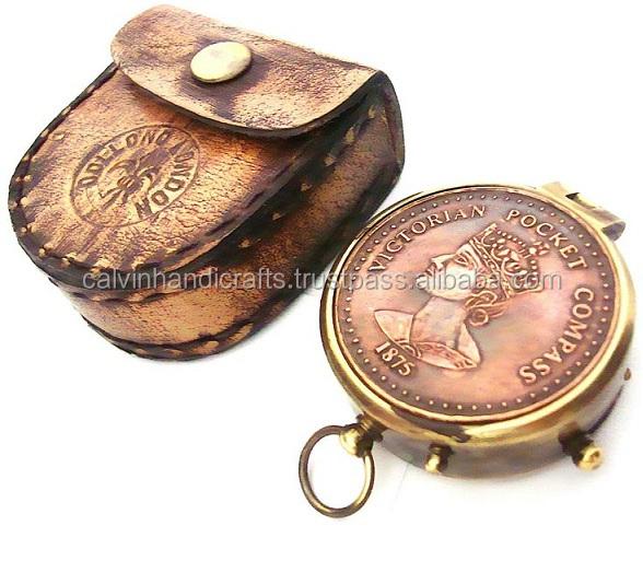 Antiques 1875 Victoria Pocket Compass Maritime Compasses
