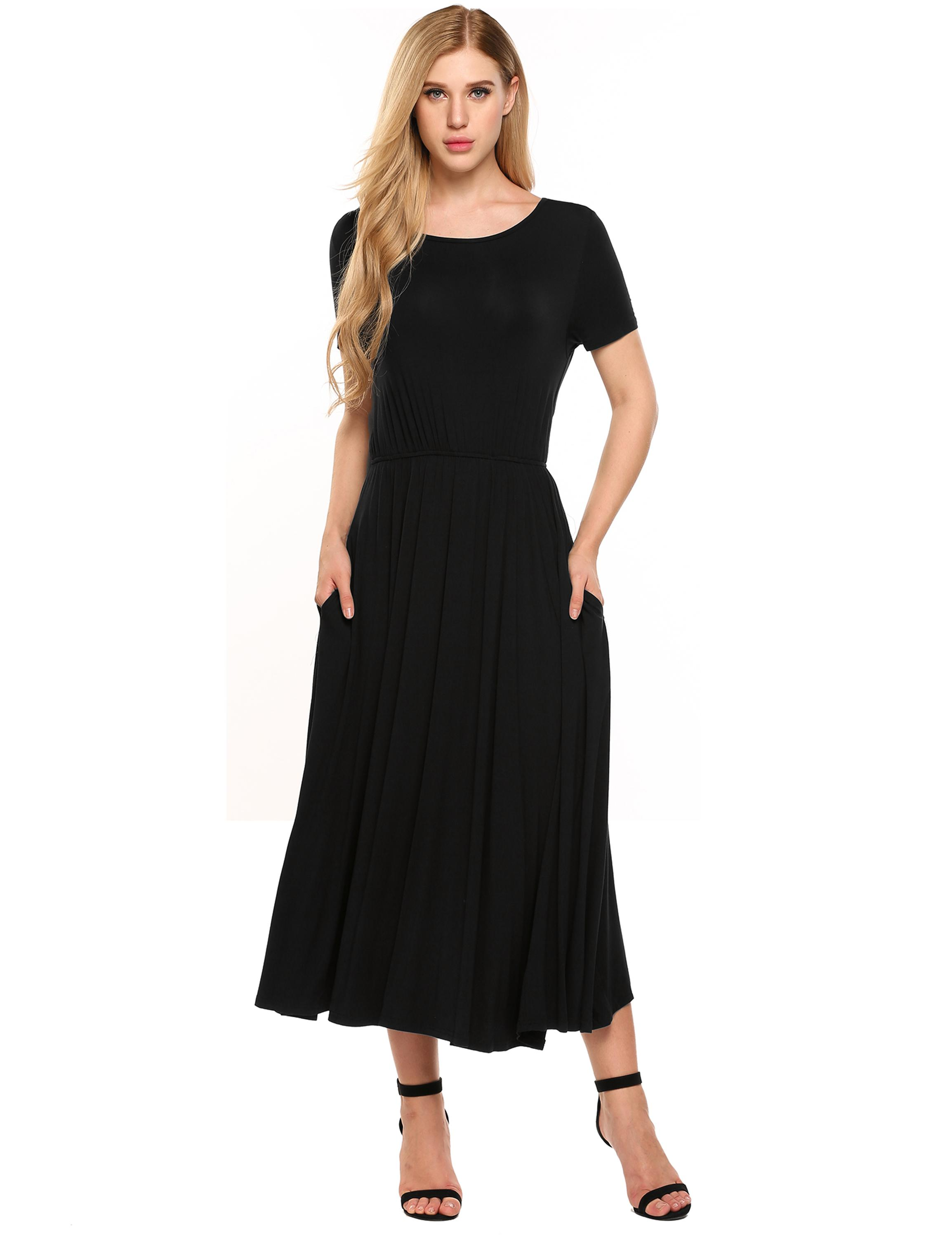 Short Sleeve Stretch Solid Casual Pleated Dress with Pockets