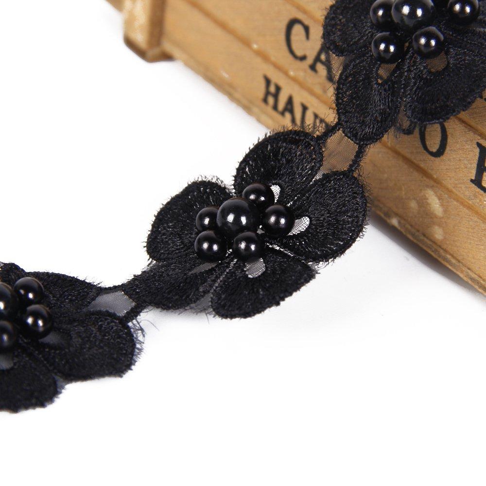 YYCRAFT Pack of 2y Organza Leaf Flower 5 Lace Pearl Trim Ribbon Wedding Applique DIY Sewing