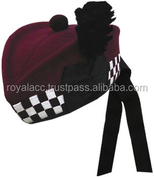 Glengarry Hat Maroon With Diced  military Balmoral Hat With Plum ... d4853b4cb7e5