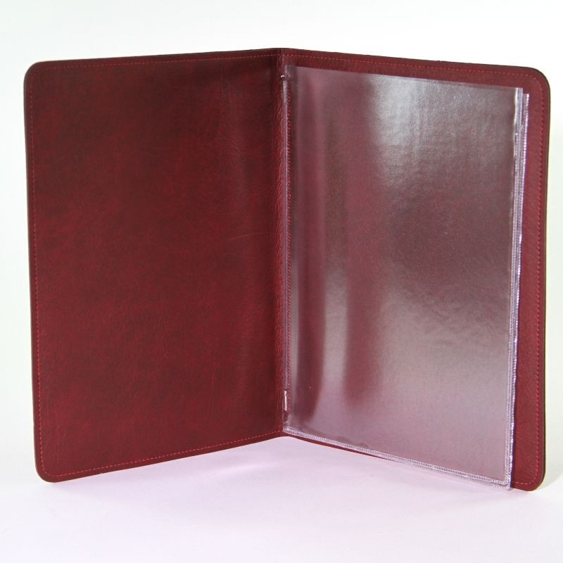 Leather Folder Certificate Holder With Plastic Sleeves Organizer Certificate Holder