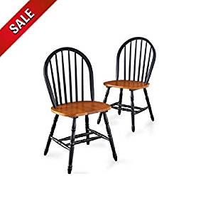Oak Dining Chairs Set Dining Room Chairs Black Wood Traditional Accent Country Style Dining Chairs Furniture Retro Unique Dining Chair Set of 2 & eBook by AllTim3Shopping