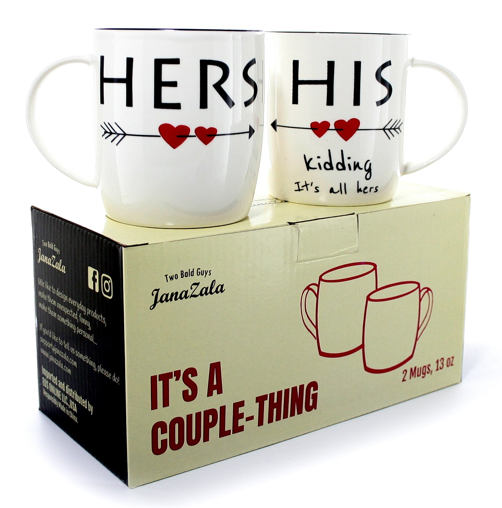 3e0d9c78e1 Gifffted His and Hers Coffee Mugs for Couple, Funny Wedding Anniversary  Engagement Gifts for Couples