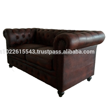 Industrial Chesterfield Leather 2 Seater Sofa ,chesterfields Vintage 2  Seater Dark Brown Color Sofa