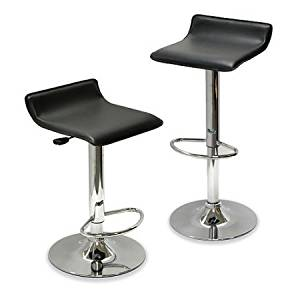 Backless Airlift Adjustable Stool, Set of 2, Contemporary Adjustable Stools for Bar or Counter Area, Full 360-degree Swivel, Footrest Ring, Living Room, Mancave, Bar stool, Black + Expert Guide