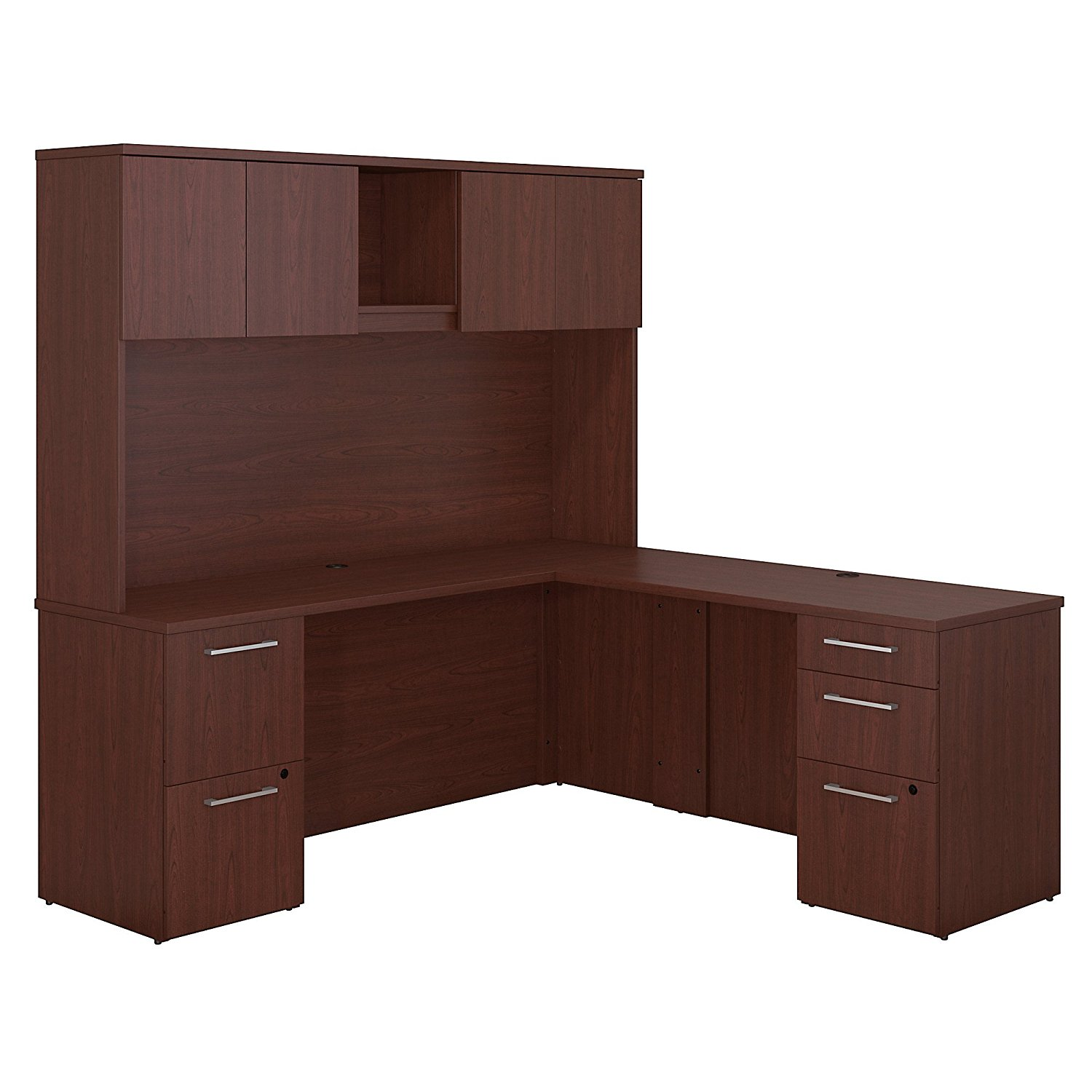 Bush Business Furniture 300 Series 72W x 22D L Shaped Harvest Cherry Office Desk with Hutch, 2 Pedestals and 48W Return