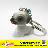 Craft Polyresin adorable dog figurine 20mm Height for souvenir gift keychains