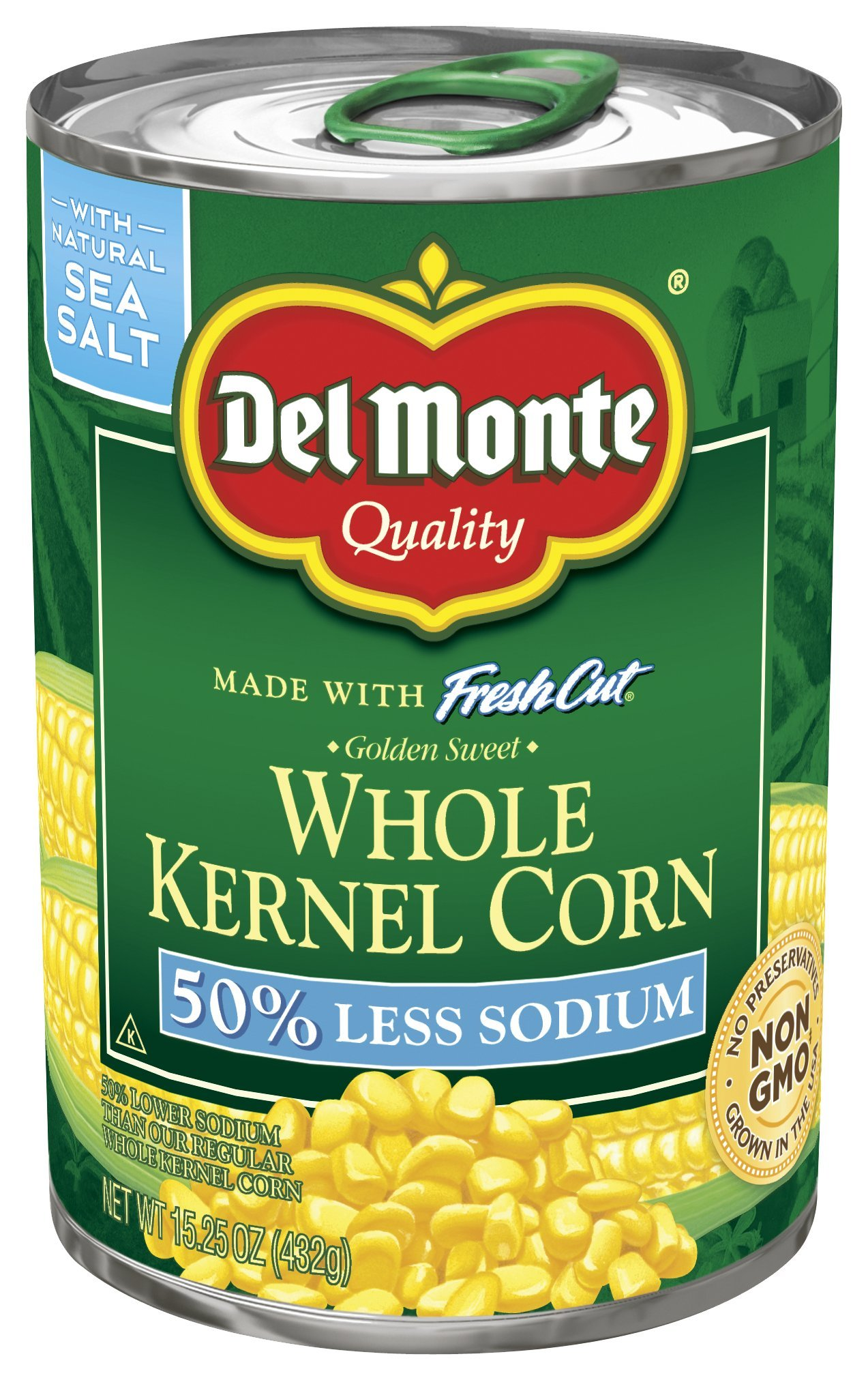 Del Monte Pull-Top Can Fresh Cut 50% Less Sodium Golden Sweet Whole Kernel Corn, 15.25 oz