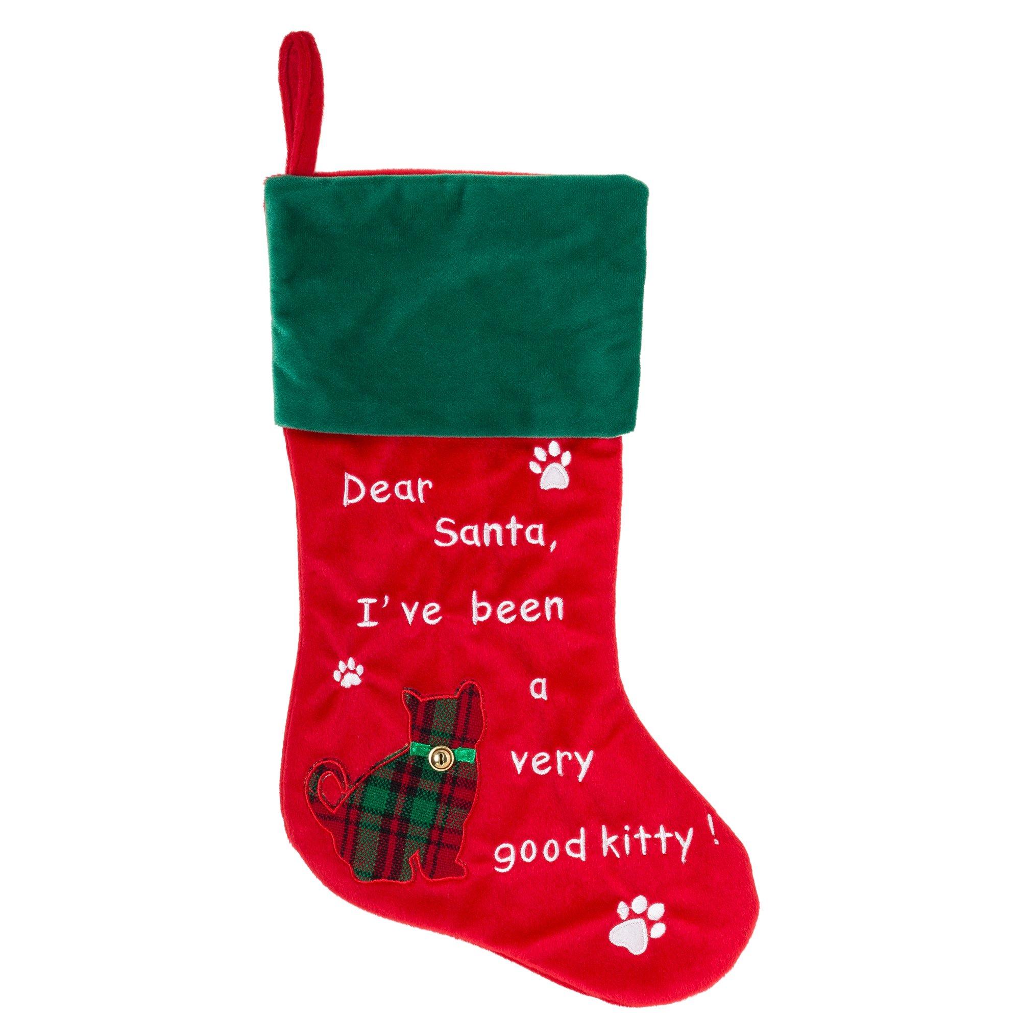 """Cat Christmas Stocking - Dear Santa, I've been a very good kitty! - 18.5"""""""