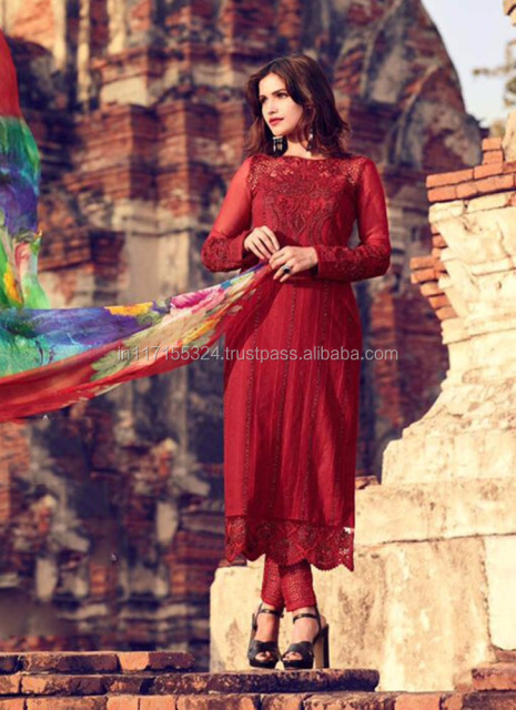 82222b37a Maroon Cotton Satin Party Wear Embroidery Work Straight Suit