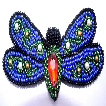 Fashion mosquito shape beaded embroidery patch , Beaded Sequin&Embroidered Patch for Clothing