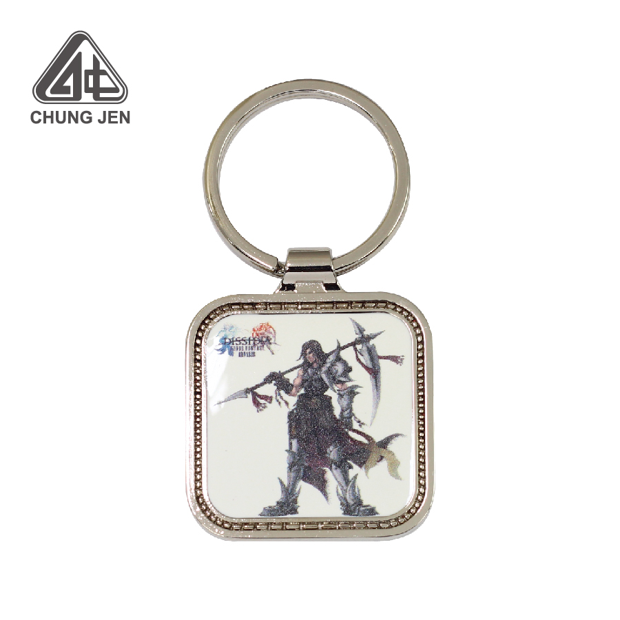 Customized Square Metal Printing Keyring for Gift