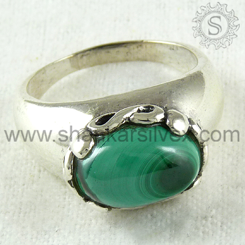 Exaggerated silver ring jewelry melachite gemstone indian 925 sterling silver handmade jewellery