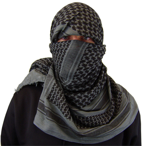 Grey & Black 100% Cotton Military Desert Shemagh/Scarf , Military Shemagh Scarf / Desert Scarfs