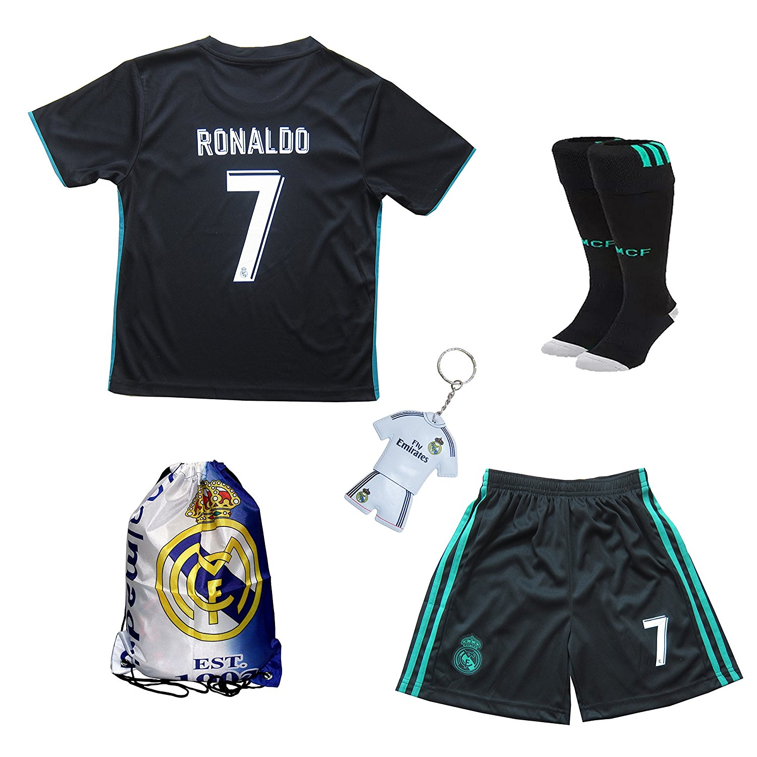 a4d7f5185 Get Quotations · 2017 2018 Real Madrid Cristiano Ronaldo  7 Away Black  Football Soccer Kids Jersey