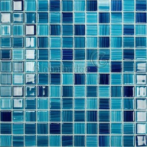 Factory price wholesale blue mixed swimming pool crystal glass mosaic tiles