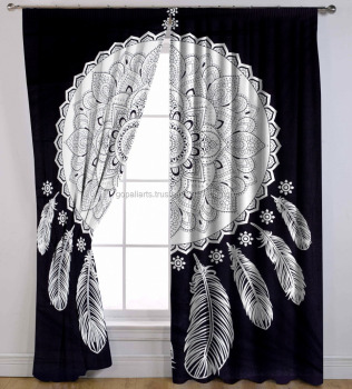 Dream Catcher Black And White Mandala Tapestry Wall Hanging Indian Cotton Throw Curtains Ds For