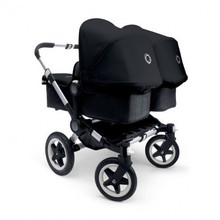 Discount Price For Bugaboo Donkey Twin Stroller Bundle, Aluminum Base with Black Tailored Fabric Set
