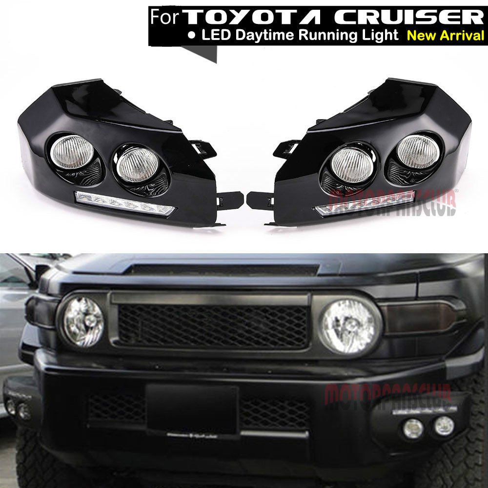 MotorFansClub Daytime Running Light LED DRL Black Bumper Driving Fog Lights for Toyota Fj Cruiser 2007-2011