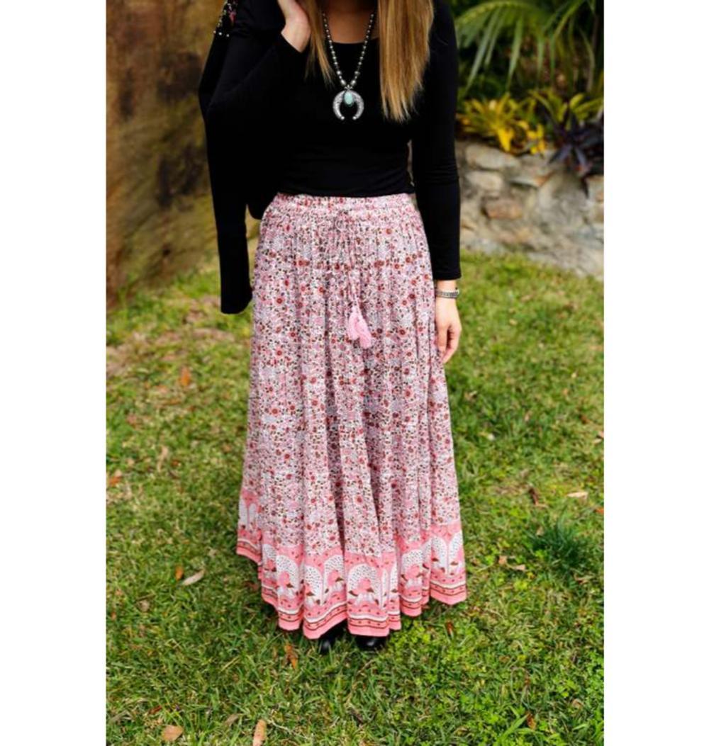 3d8560e81 Hermoso nuevo Rosa marrón Pavo Real impresión floral falda maxi mujeres