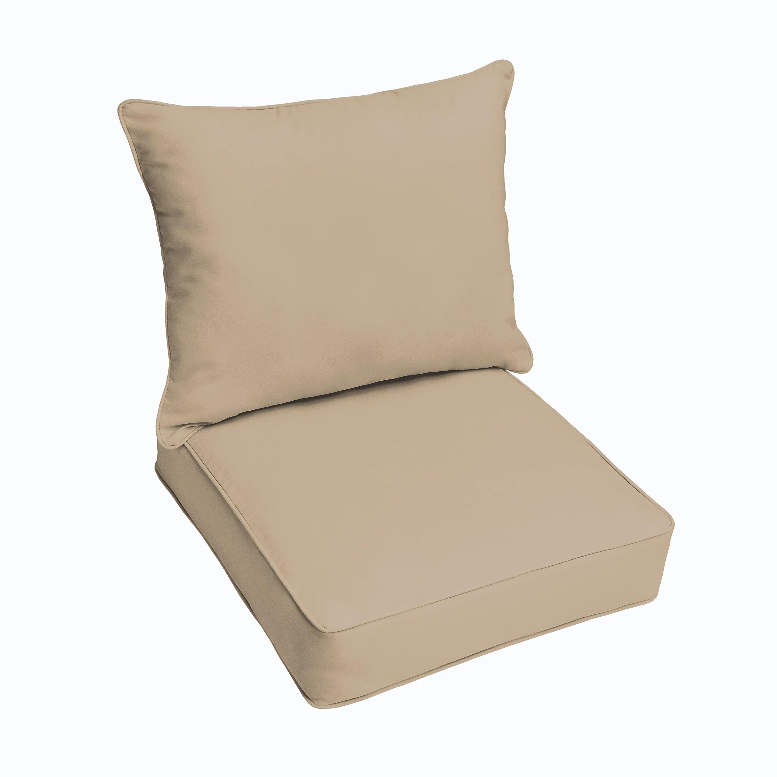Mozaic Company Sunbrella Canvas Antique Beige 2-piece Cushion and Pillow Indoor/Outdoor Set