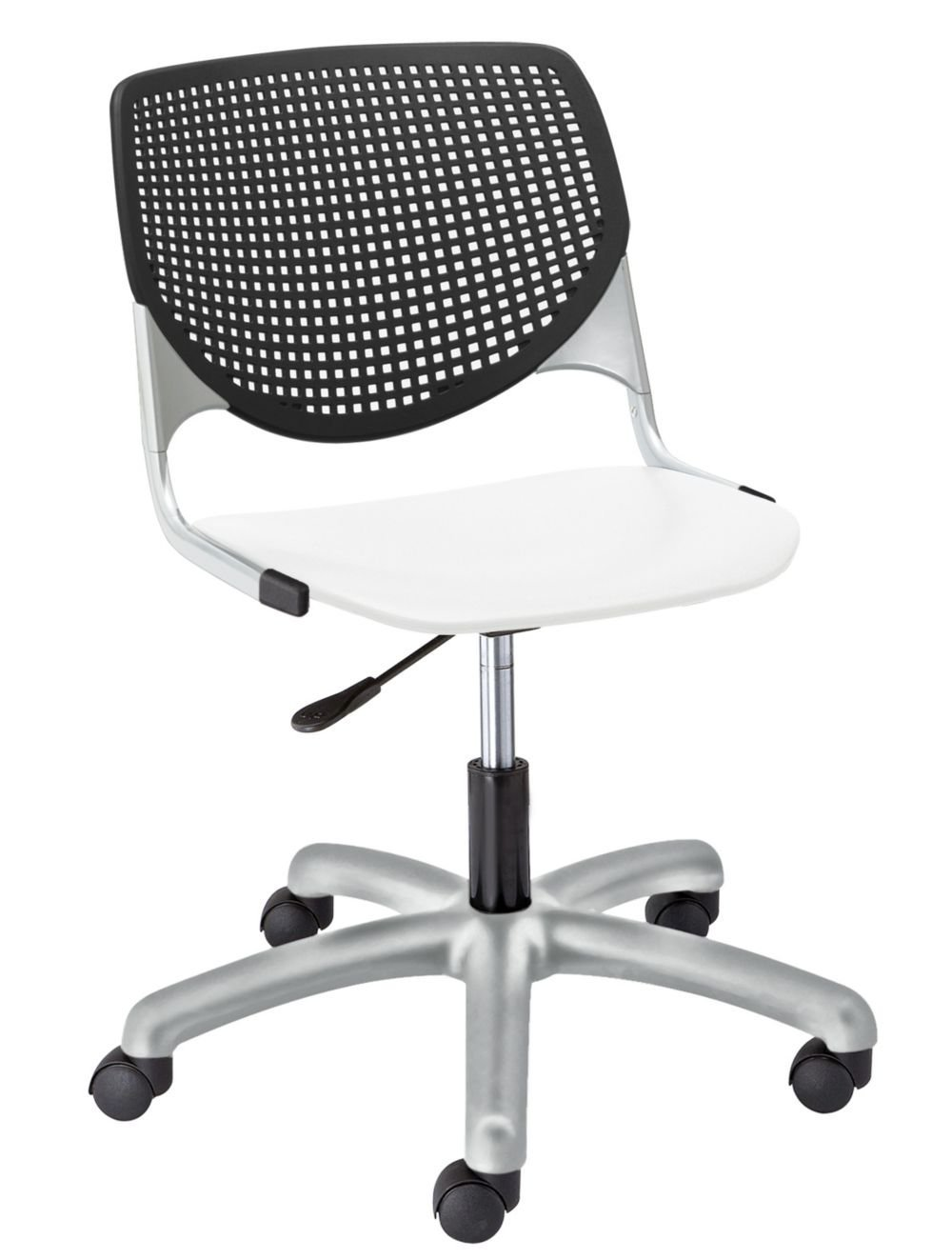 """Kool Polypropylene Perforated Back Task Chair Dimensions: 19.3""""W x 22""""D x 35""""H Seat Dimensions: 18""""Wx18""""Dx18""""H Black Polypropylene Back/White Polypropylene Seat/Silver Frame"""