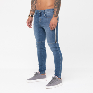 Streetwear Fancy Stretch Skinny Grinding Washed Distressed Mens Jeans Pants Markets Ripped Jeans Men