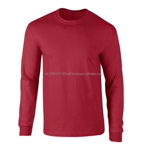 Round Neck cotton Red T-shirt Long Sleeve Simple