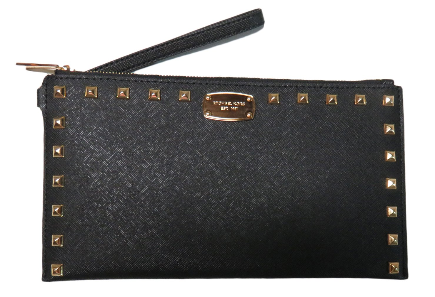 Micheal Kors Sandrine Stud Leather Large Zip Clutch Wristlet Black