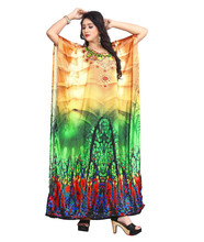 Women's New High Quality Digital Printed Satin Silk Kaftan Kurtas 2018