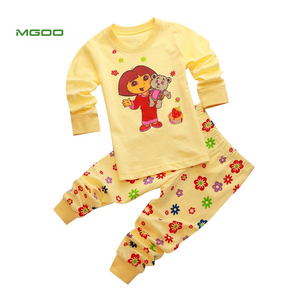 MGOO OEM Dora The Explorer Girls Pajamas Baby 100% Cotton Clothes Kid Pyjamas Nightwear