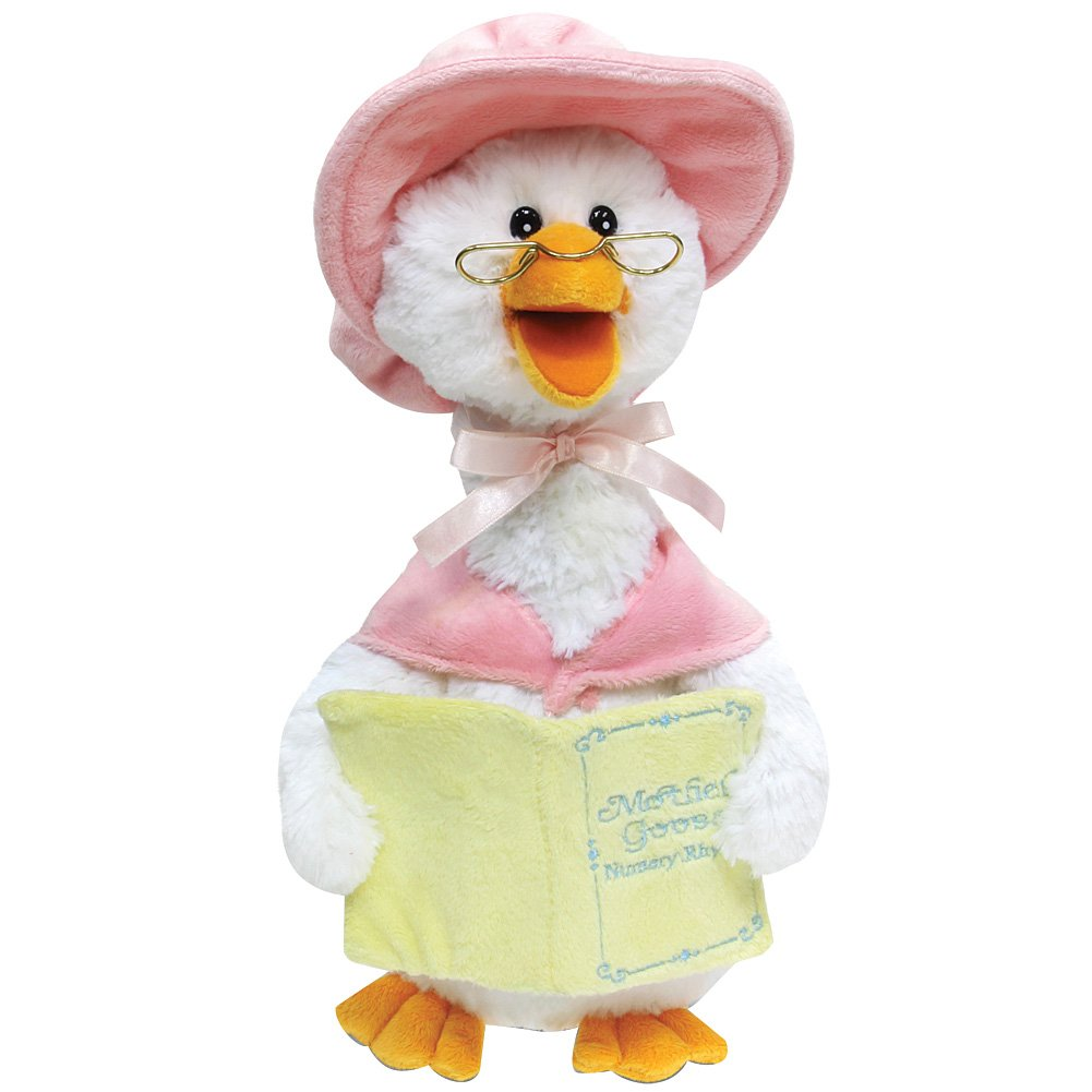 "Cuddle Barn Mother Goose Animated Talking Musical Plush Toy, 14"" Super Soft Cuddly Stuffed Animal Moves and Talks, Captivates Listeners by Reading 7 Classic Nursery Rhymes - Pink"