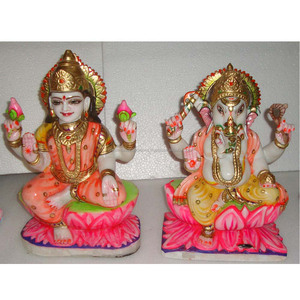 Beautiful Marble Hindu God Goddess Laxmi Ganesh Statues