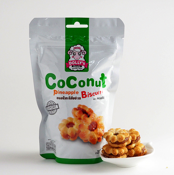Coconut Pineapple Sandwich Biscuits Filled with High Quality Pineapple Jam Ziplock Premium Food Snack
