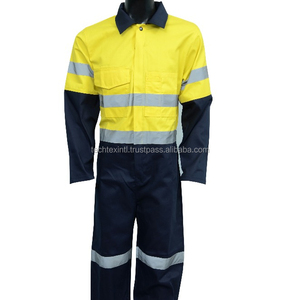 hi vis workwear safety coverall with reflective tape Polyester Cotton coverall