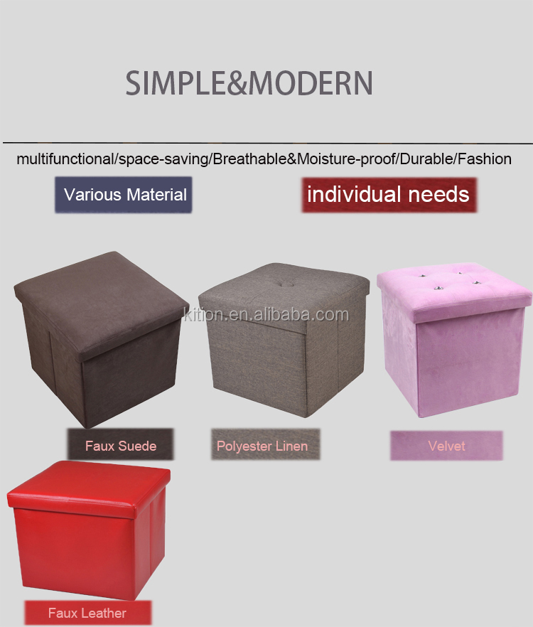 2017 hot sale foldable velvet stool seat