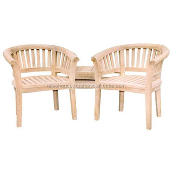 Furniture Outdoor - Dual Bean Arm Chair with Table Jepara Furniture