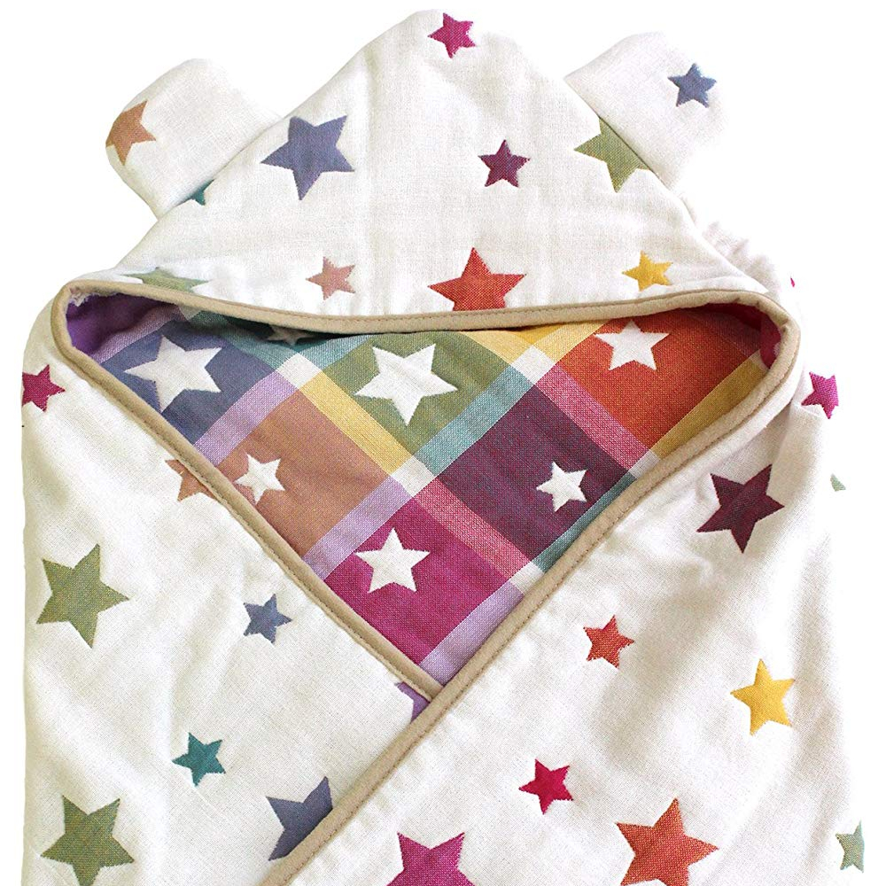 6 layer gauze Hooded Baby Swaddle Blanket. Made in Japan Cotton 100% Baby Blanket Star design