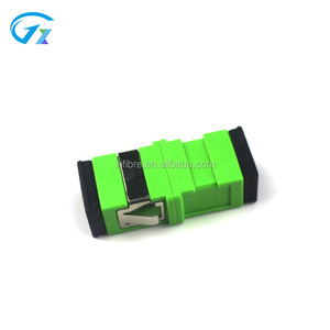 Passive components FTTH SC / APC fiber optic telecom level singlemode simplex green adapter with without flange