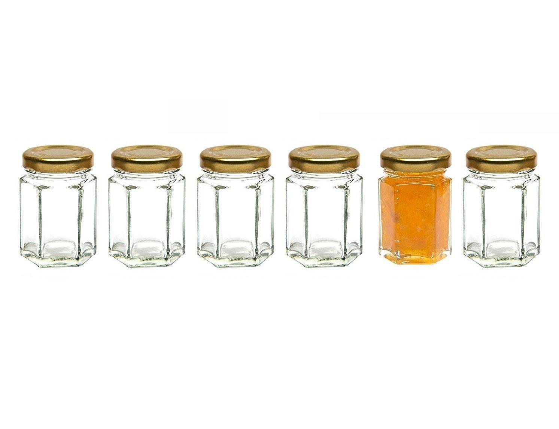 Healthcom 6 Pcs 2.8 Oz Hexagonal Canning Jars Wide Mouth Quart Jam Jars Hexagon Glass Jars Mason Jars,Gold Lid(85ml)