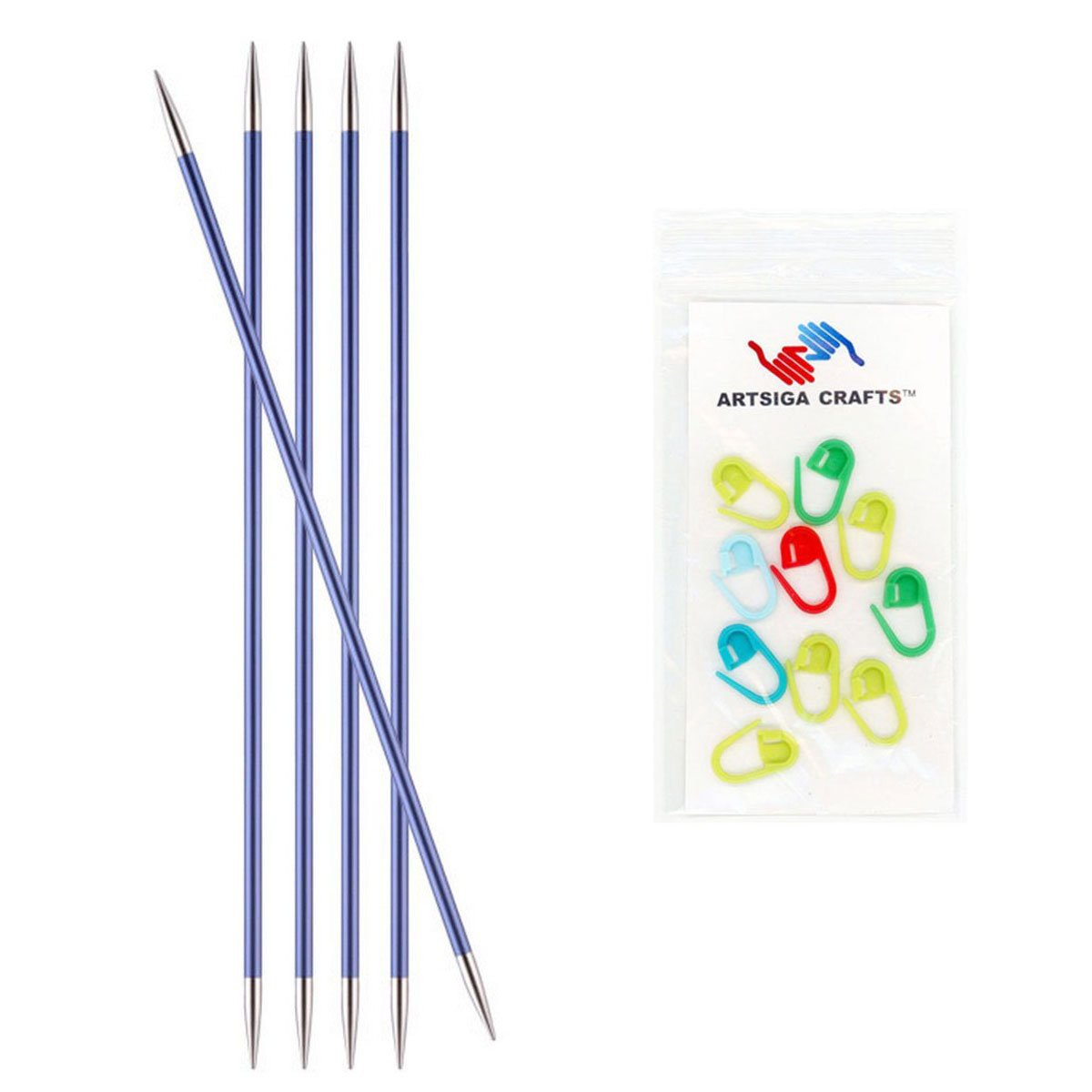 Knitter's Pride Zing Double Pointed Knitting Needles 8in. Size US 7 (4.5mm) Bundle with 10 Artsiga Crafts Stitch Markers 140040