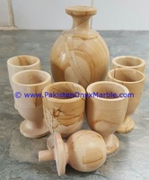 Beautiful cheap price marble wine bottle set glasses cups teakwood fossil beige white black marble