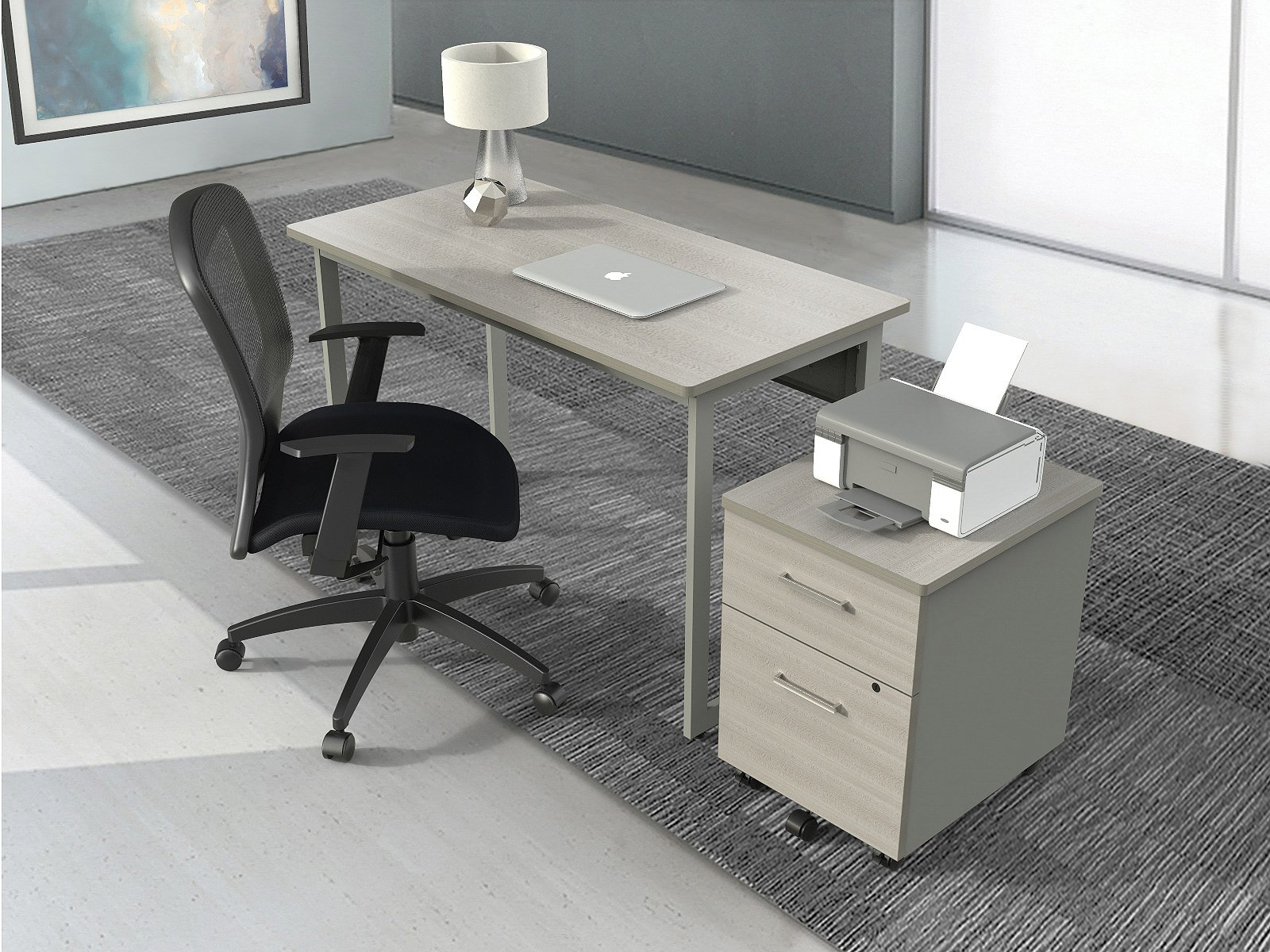 Easy to Assemble Desk for Office - Computer Desk in Grey / Gray Laminate Wood & Steel - Writing table for Students // Modern design // By Linea Italia