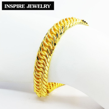 Inspire Jewelry Brand Gold Plated Bracelet Made Of Sandpaper Sanded Weight 1 Baht Micron Plating Length 19 5x1cm 28g Pure