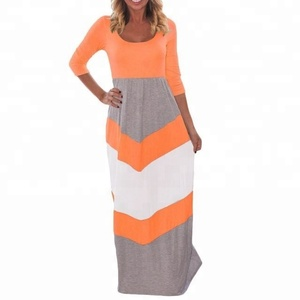 Women Chevron maxi dress with three quarter sleeves