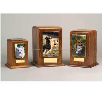 Wooden Pet Urn With Photo Frame Rosewood