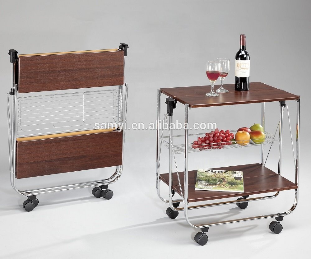 Folding Kitchen Trolley Cart - Buy Wooden Folding Kitchen Cart,Folding  Kitchen Trolley Cart,Wooden Cart Product on Alibaba.com